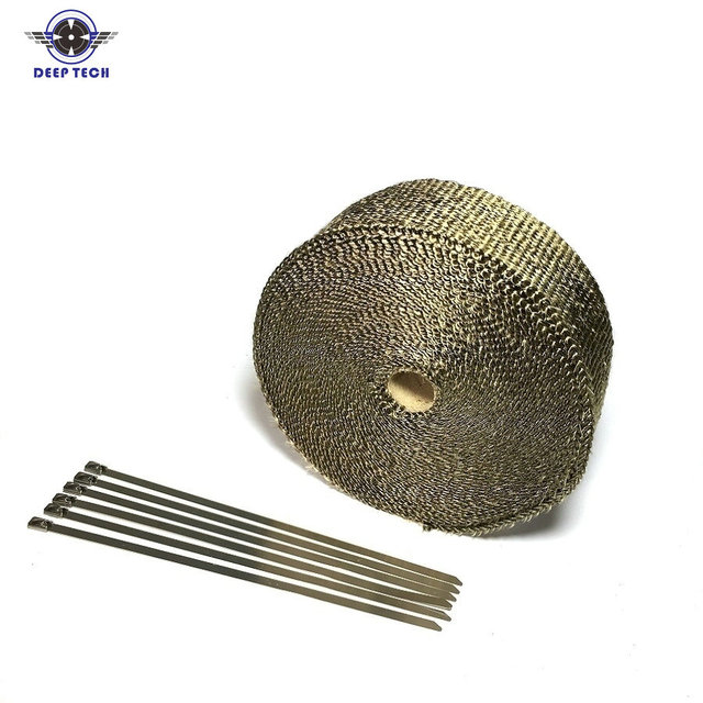 2x50 Motorcycle Exhaust Wrap Muffler Pipe Header Downpipe Auto Manifold Heat Resistant Wrap With 8 Pcs Cable Ties