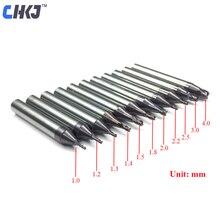 CHKJ цементированный карбид 3 флейты Концевая фреза Staight биты для WENXING DEFU MODEN все вертикальные ключевые режущий станок 1,0 мм-2,0 мм