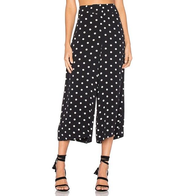 cce71cc352fd9 White dot black high waisted polka dot plus size palazzo trousers women  ladies summer casual oversize wide leg capri pants