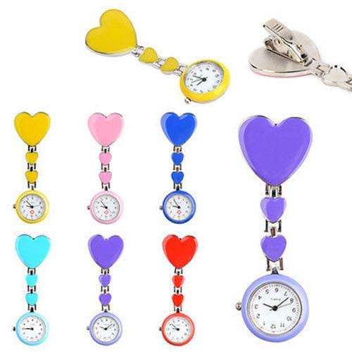 Fashion Alloy Heart Love Quartz Women Clip-on Brooch Nurse Pocket Fob Watch