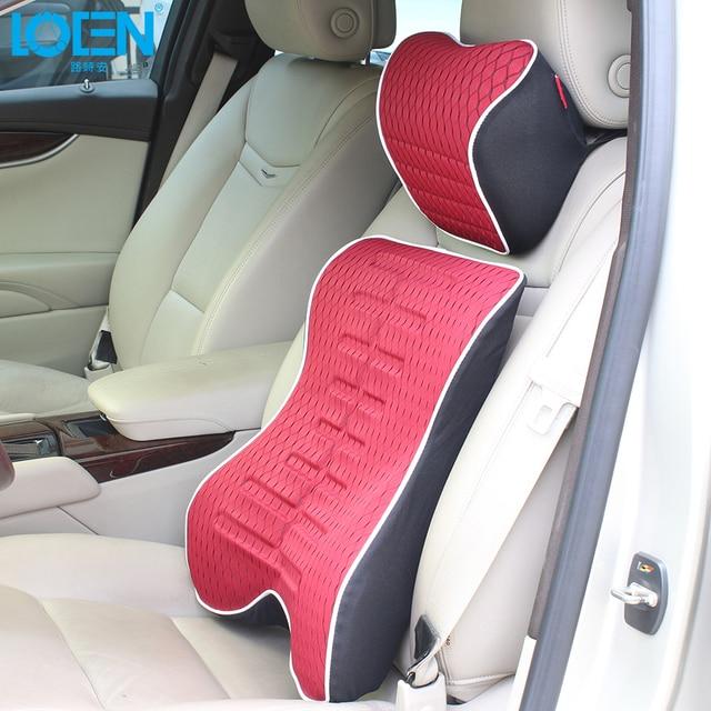 Loen Relax Car Pillow Seat Memory Foam Back Cushion Lumbar Support For Waist With Neck Set