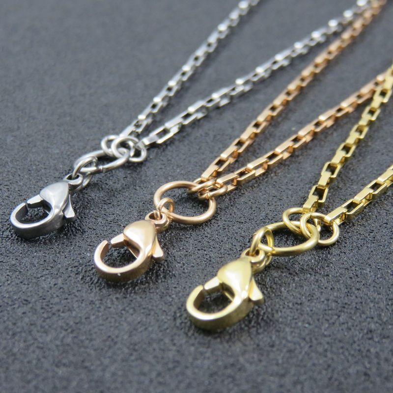 2mm*60cm 70cm 80cm 90cm Rose Gold Lobster Clasp Locket Chains Stainless Steel Box Chain Necklace For Charms Pendant UOK696 locket