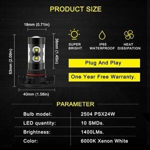 Image 2 - 2pcs PSX24W LED H16 H10 H11 H8 ערפל אור 9006 HB4 אוטומטי הנורה 880 881 50W LED הנורה רכב בשעות היום ריצת אור DRL מנורת 6000K לבן