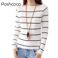 The 2015 Fall Fashion Show Thin Black And White Striped Collar T Shirt And Sweater Female