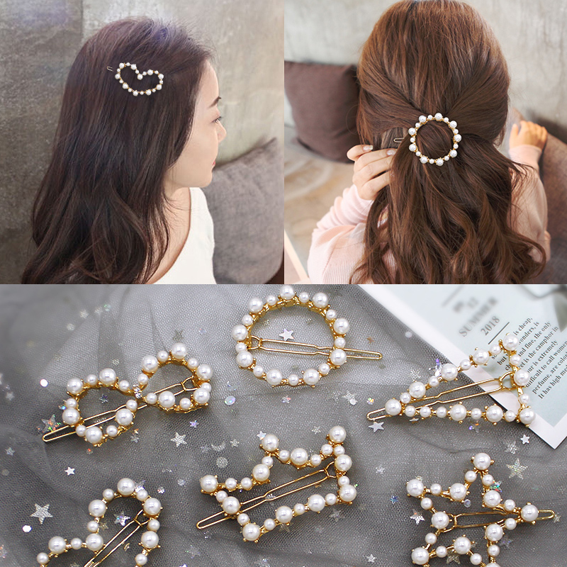 1 PC New Fashion Women Girls Pearl Hairpins Girls Star Heart Hair Clip Delicate Hair Pin Hair Decorations Jewelry Accessories