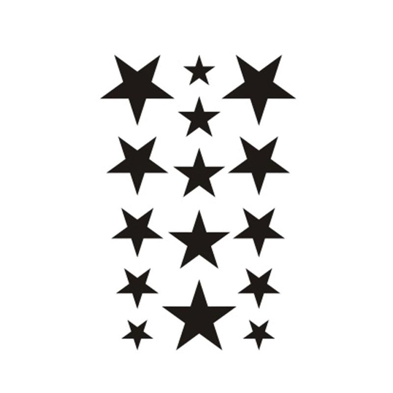 Wyuen New Design Waterproof Temporary Tattoo Sticker For Adults Kids Body Art Five-pointed Stars Fake Tatoo For Man G-014