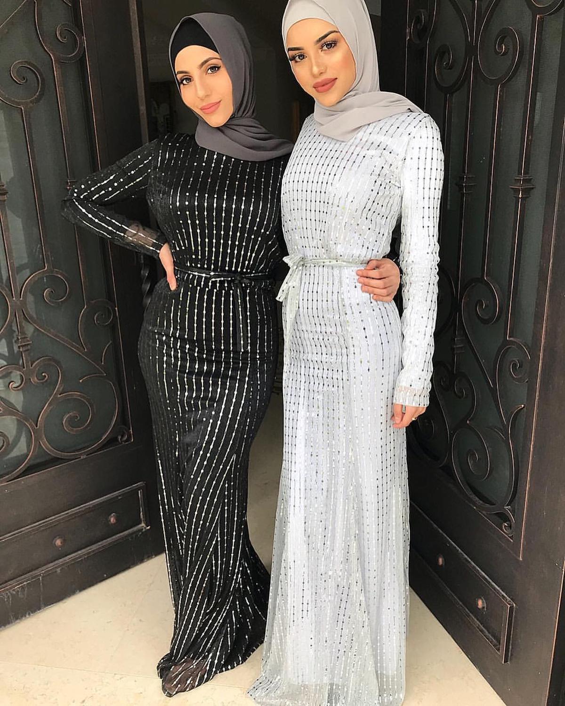 Elegant Muslim Sequins Maxi Dress Beading Abaya Cardigan Female Kimono Long Robes Jubah Middle East Ramadan Eid Arab Islamic