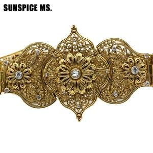 Image 2 - Sunspicems ceinture de caucase ronde en cristal, luxueuse, Noble médiévale, chaîne en métal, longueur ajustable, bijoux de mariage de mariée, cadeau