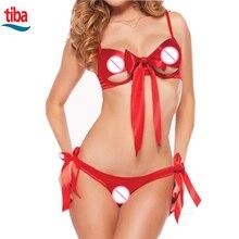 Red Sexy Christmas Lace Women Lingerie Set bow-knot Babydoll Sleepwear Red Underwear Nightwear G-string TB-0803