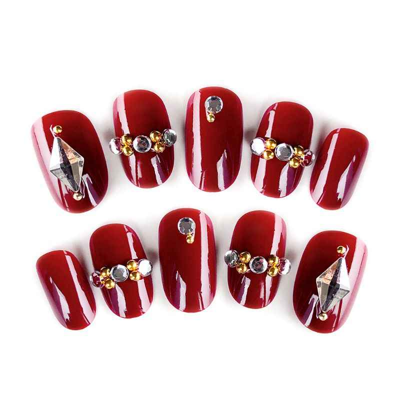 24Pcs Mengkilap Palsu Kuku Jari Kristal Merah Glossy Pengantin Pernikahan Pendek Desain Kuku Palsu Tips Nail Art Baru