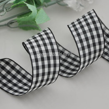 1 25mm Black Color Tartan Plaid Ribbon Bows Appliques Sewing Crafts 10Y