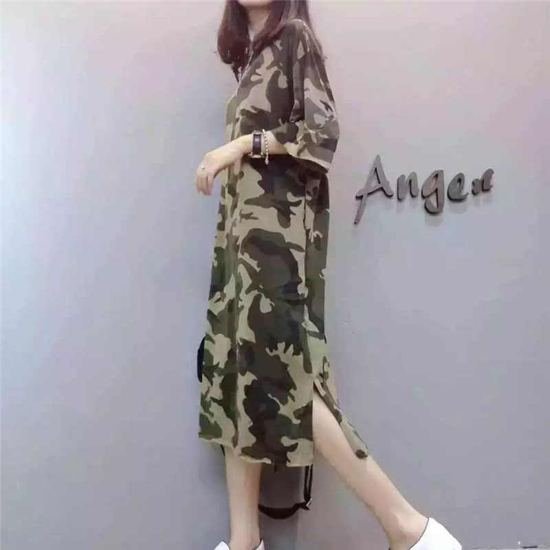 Moda europea Top 2019 verano Casual mujeres vestido de camuflaje Camisa larga de manga corta suelta gran tamaño vestido femenino S-XXL OK94