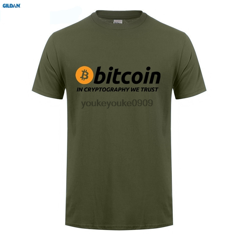 GILDAN T Shirts Bitcoin In Cryptography We Trust Mens Round Collar Short Sleeve Shopping T-Shirt New Men Funky Tee Shirts (2)