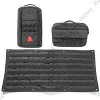 3pcs Black Car Tailgate Retrofitti Multi Pockets Storage Bag Luggage Tool Kit Cargo Organizer Bag Saddlebag
