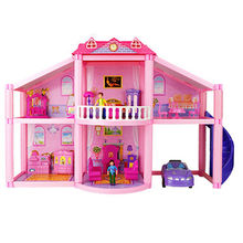 Assembly DIY Family Doll House Accessories With Miniature Furniture Pig Apartment Garage Car DIY Toys For Children Kids Gifts free shipping id outdoor bell camera with 2 buttons for 2 family house apartment in stock