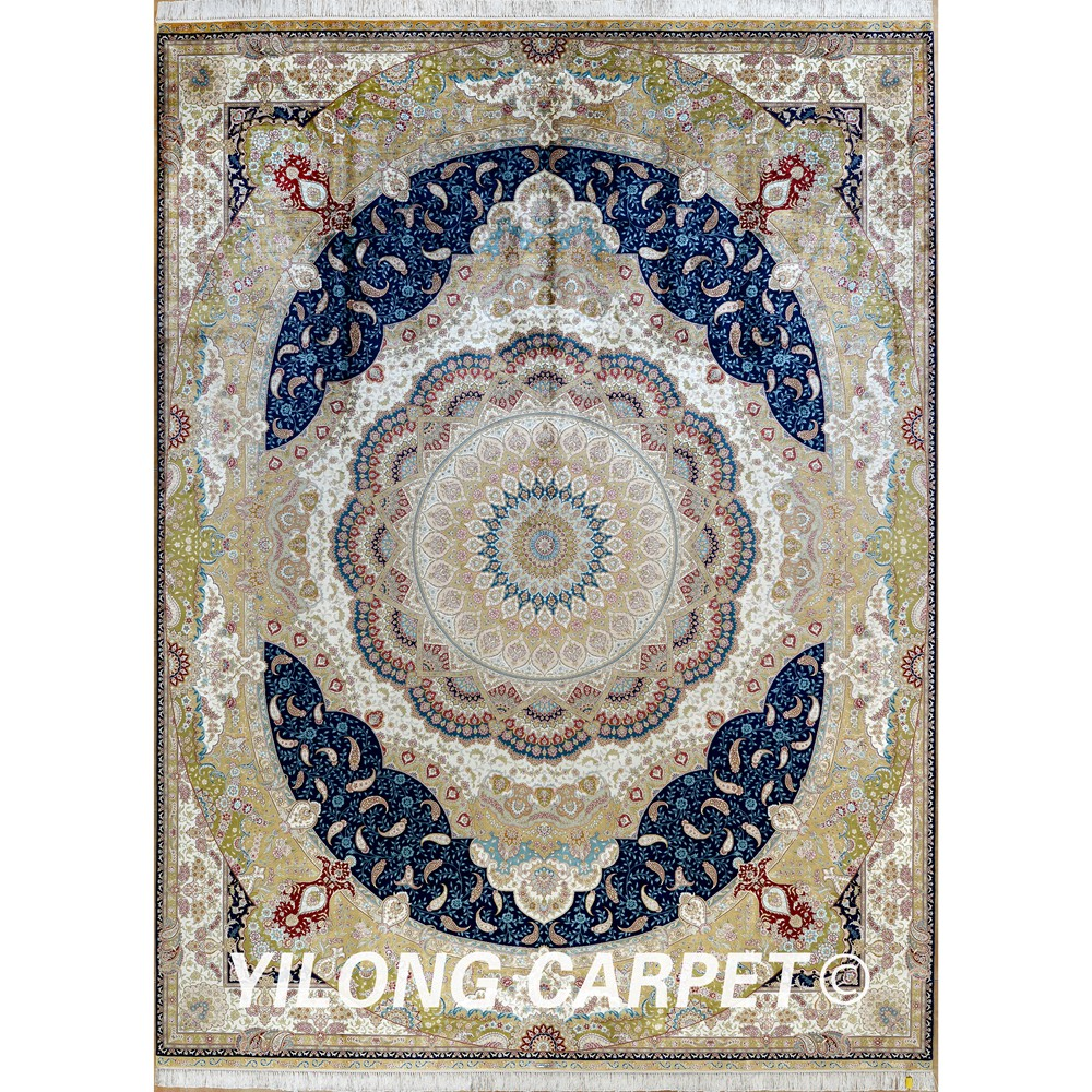 Yilong 9 X12 Antique Handmade Turkish Rug Large Beige Persian Silk Carpet 1892