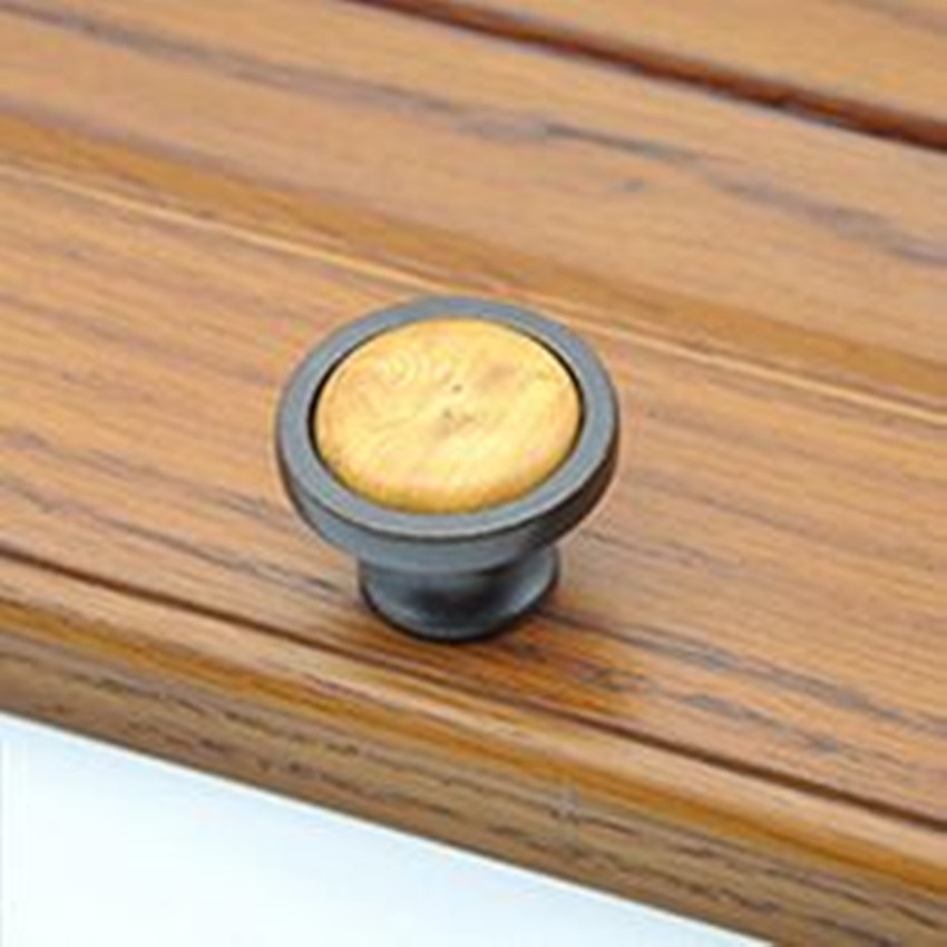 creative fashion vintage wood grain ceramic furniture knob bronze drawer cabinet knob antique brass dresser door