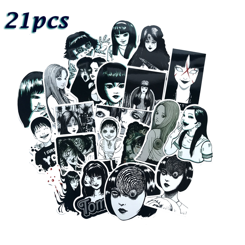 21Pcs Horror Comics Stickers Japanese ITO Leap Second Decal For Snowboard Laptop Luggage Car Fridge Car-Styling Vinyl Home