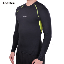 Zealtoo Men's Compression Tight Fit Cycling Base Layer MTB Bike Bicycle Shirt Long Sleeve Jersey Sports Clothing Sportswear