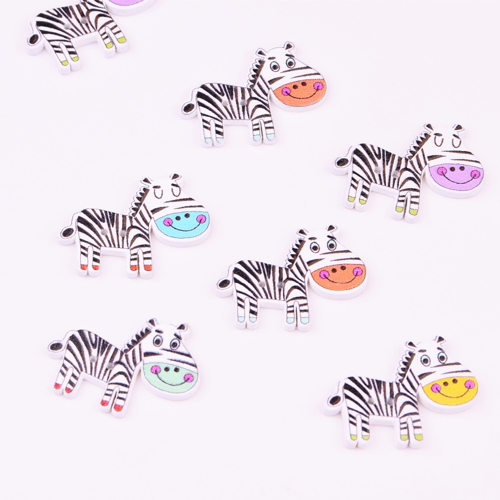 50 pcs White Wood Buttons Scrapbooking Horse pattern 2 Holes 22*29mm Crafts sewing accessories XP0431
