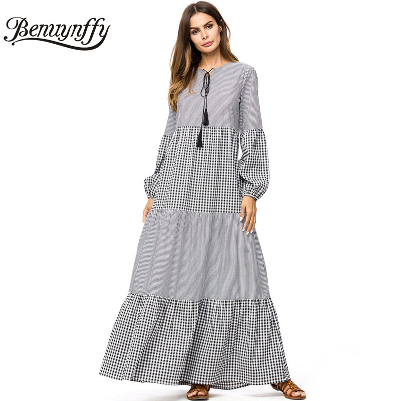 Benuynffy Tassel Tie Plaid Swing Long Women Dresses Autumn Winter Ladies Casual  O-neck Long d1f8d6eb05f9