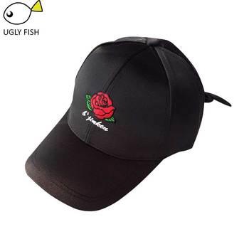 black cap women pink cap rose embroidery baseball cap women black pink with gift bone para bordar