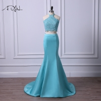ADLN Sexy Two Piece Evening Dresses Halter Mermaid Prom Gown Robe de Soiree Custom Size Satin Formal Party Wear