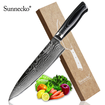 "SUNNECKO 8"" Damascus Steel Chef Knife Japanese VG10 Core Razor Sharp Blade Kitchen Knives Micarta Wood Handle Meat Slicer Cutter"