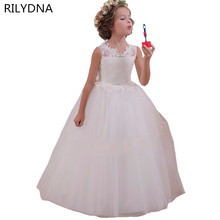 White Flower Girl Dress Kids Ball Gowns First Communion Dresses Pageant Girls Glitz Scoop Sleeveless Floor length Tulle