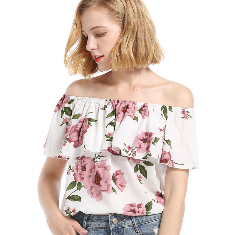 Off Shoulder Top Women Tshirt Floral Printed Ruffles Butterfly Sleeve Sexy Tee Shirts For Women Femme Elegant Casual T-Shirts