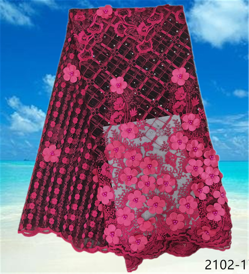 Latest Embroidered 3d Lace Fabric African Lace Wedding High Quality Handmade Beade French Lace Fabric For Dress 5yards 2102 in Lace from Home Garden