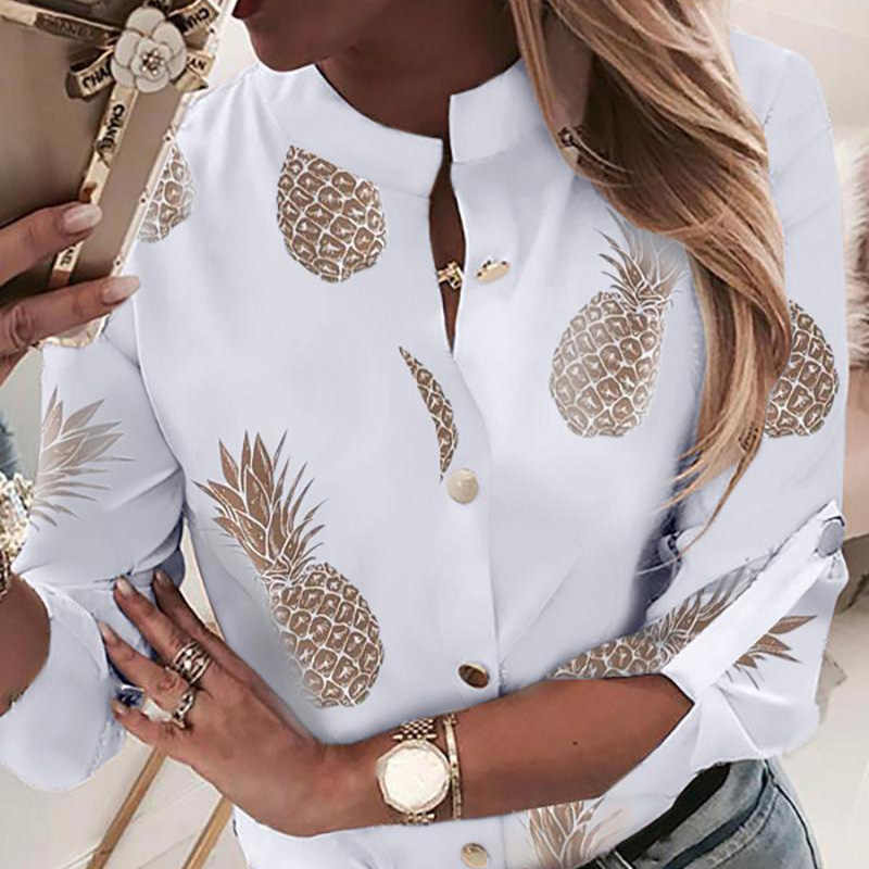 Ananasowa bluzka koszula damska Ananas biała z długim  kFiV6