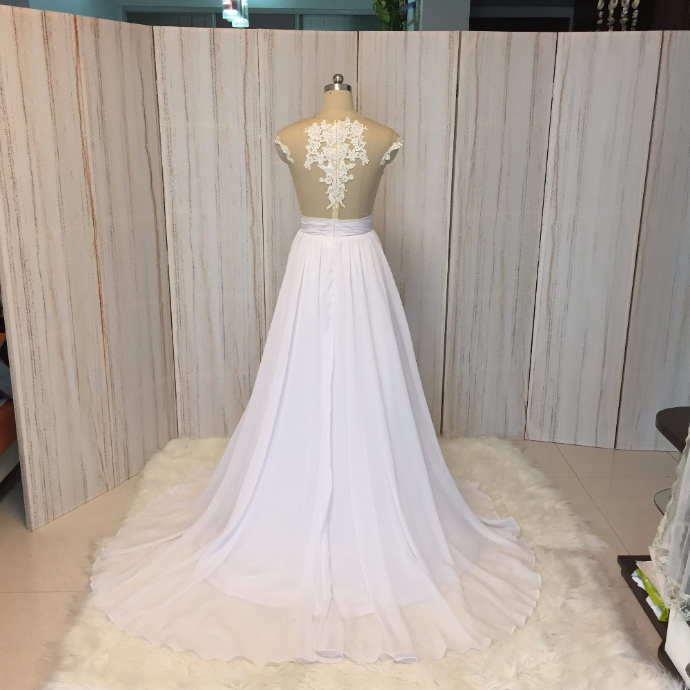 Купить с кэшбэком SuperKimJo 2020 Real Photo Chiffon Beach Wedding Dress Lace Vestido De Noiva Applique Cheap Bridal Dresses 2017