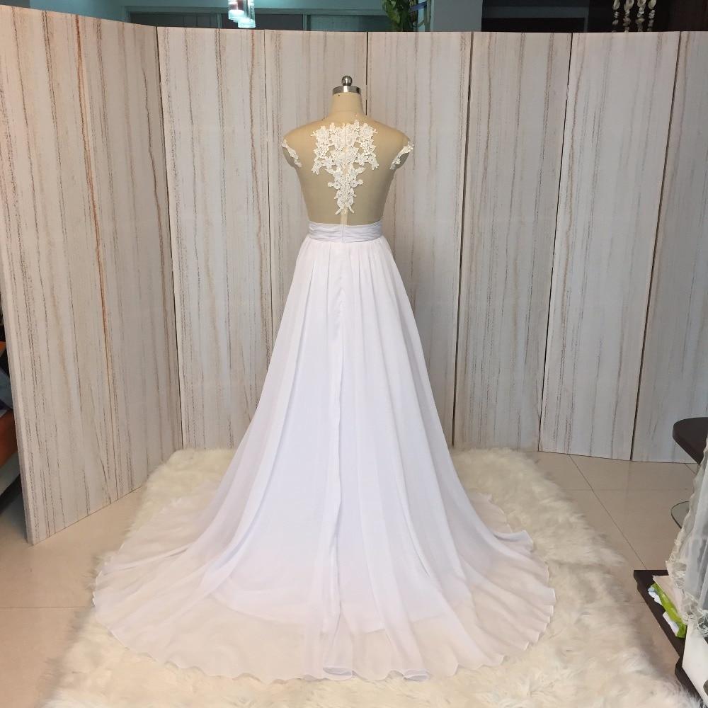SuperKimJo 2018 Real Foto Chiffon Beach Nunta rochie dantelă Vestido - Rochii de mireasa - Fotografie 6