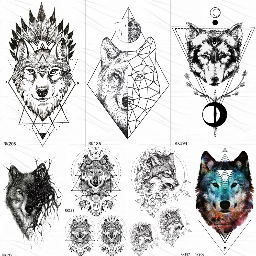 OMMGO India Wolf Totem Geometric Tribal Temporary Tattoos Sticker Triangle Black Fake Tattoo For Men Women Body Art Arm Tatoos