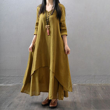 Women Casual Loose Fake two-piece long literary  loose long-sleeved cotton large swing linen Solid color dress