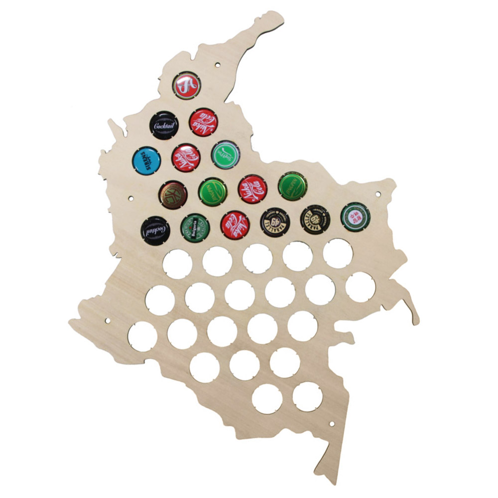 Republic Of Colombia Wooden Bottle Cap Display Map Beer Cap Map Columbia Map Novelty Wood Map Home Decoration Accessories