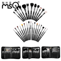 MSQ 29pcs Makeup Brushes Set Blush Powder Eye Shadow Powder brushes set Animal hair zipper Pockets Soft