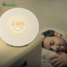 2017 Led Digital Wake Up Light Alarm Clock Sunrise Simulation Nature Sounds FM Radio Adjustable Touch Display Table Night Lamp