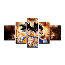 5 Panels Canvas Painting Hot Top Dragon Ball Z Goku Modular Wall Art Prints Pictures Poster For Living Room Unframed(China)