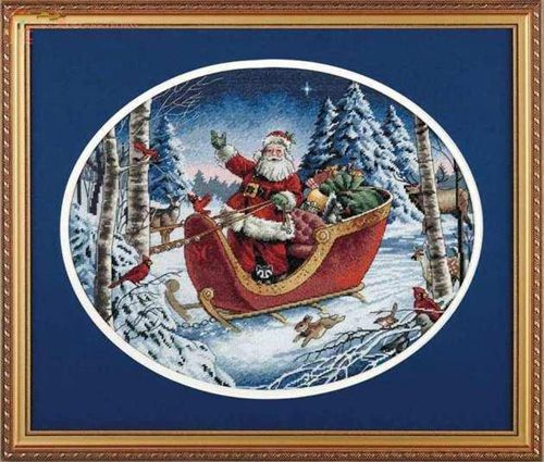 Gold Collection Counted Cross Stitch Kit Santa's Sleight Christmas Father And Gift Winter Snow DIM 8664