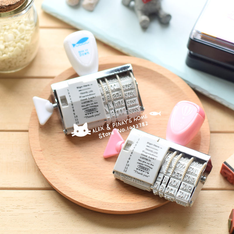 Kawaii Date Roller Stamp Vintage DIY Ink Pad Stamp for Wedding Scrapbooking Rubber Stamp Office School Supplies