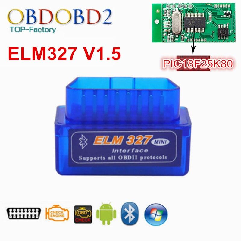 2017 Mini ELM327 Bluetooth HW V1.5 25K80 ELM 327 OBD2 para Android par/PC apoyo todos los protocolos OBDII 12 idiomas envío gratis