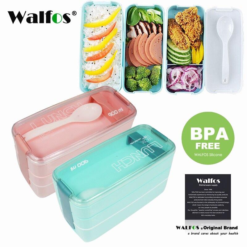 Neu Kommen 900 ml Japanischen Mikrowelle Lunchbox Tragbaren 3 Schicht Bento Box Gesunde Lebensmittelbehälter Ofen Geschirr set