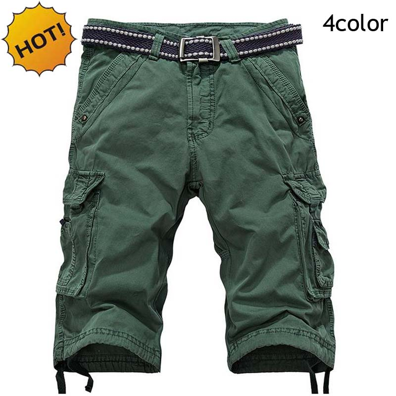 New 2018 Fashion 100%Cotton Men Cargo Baggy Knee Length Army Military Tactical Multi Pocket Outdoors Short trousers Men 4color