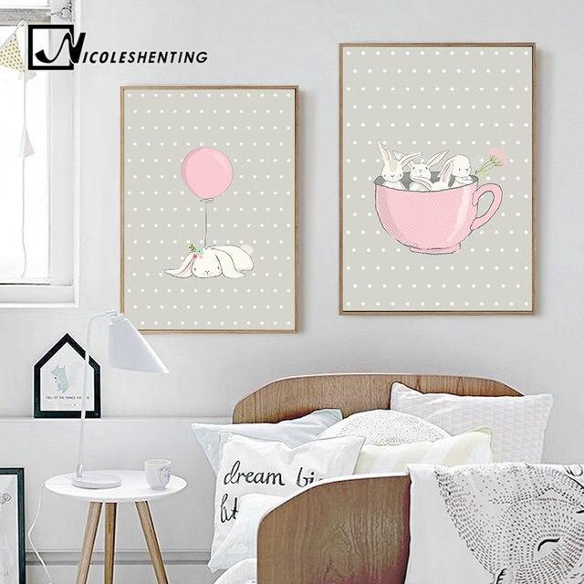 Online Shop Cute Pink Rabbit Bunny Wall Art Canvas Posters Cartoon ...