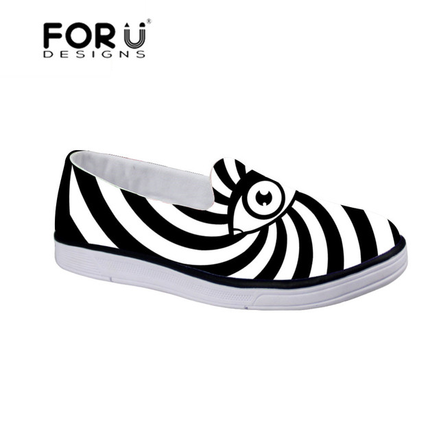 FORUDESIGNS Black White Eyes Sport Shoes for Kids Running Flat Comfort Sneakers for Boys Autumn Children Lazy Shoe for Kid Boys