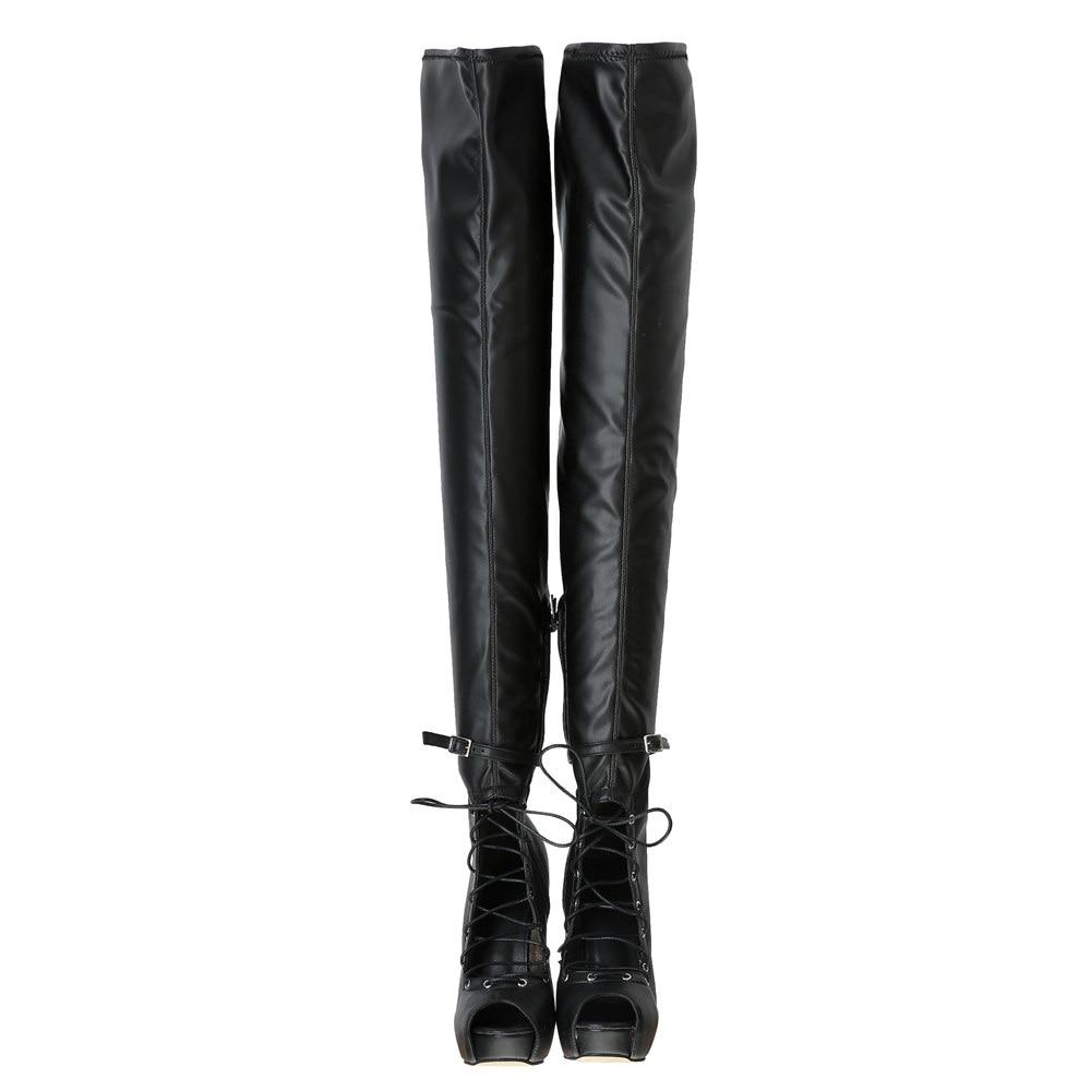 Over Ef1456 L'intention Talons Sexy Cuissardes the Bottes Minces Taille Toe Initiale Super Femmes genou 4 15 Plus Noires Femme Black Peep Nous Chaussures nqIxqr1