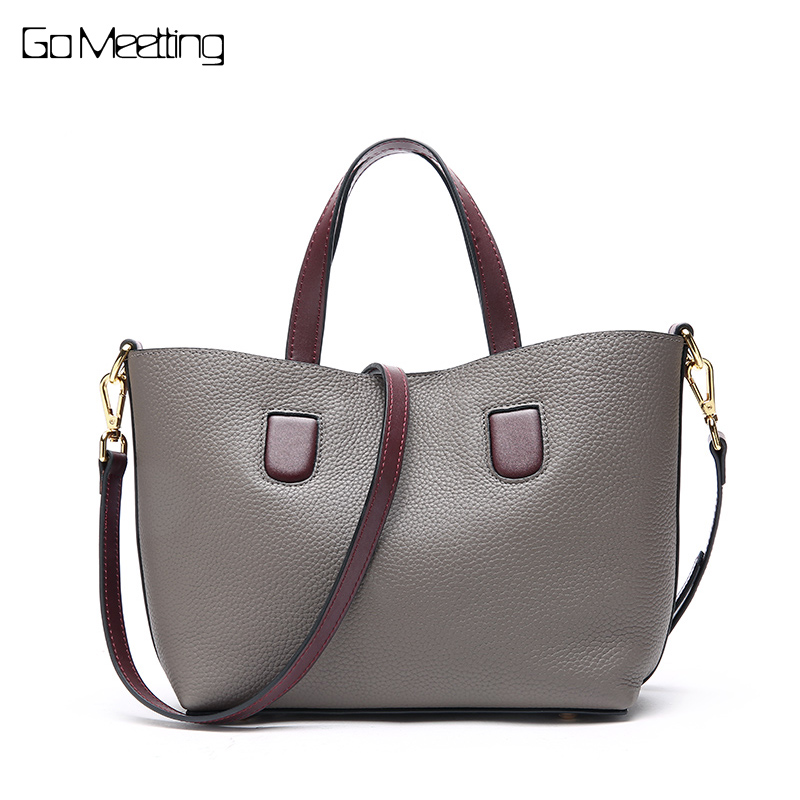Go Meetting Brand Genuine Leather Women Composite Bag Tote Famous Female Shoulder Bags Ladies HandBags Cowhide Crossbody Bag genuine leather shoulder bags crossbody bag women messenger bags female bag cowhide handbags women famous brand ladies tote