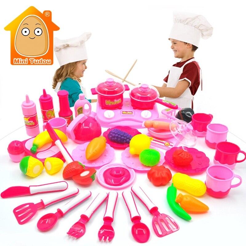 Minitudou Children Kitchen Set Pretend Play Cut Toy Utensils 9-30PCS Fruit Vegetables Plastic Kids Cook Food Eduacation Game